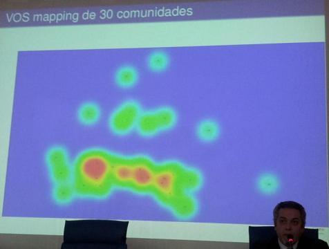 Representación gráfica con nebulosas de diferentes colores