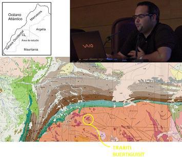 Fotocomposición con ponente y mapa geográfico y geológico