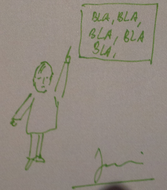 Con una mano alzada indicando a un Bla, bla, bla...
