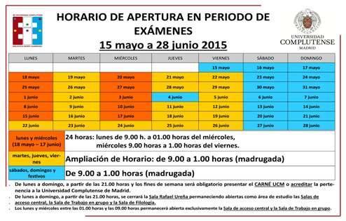 Horario ampliado de la Biblioteca María Zambrano y de la Biblioteca de Veterinaria durante los exámenes, en mayo y junio (La Biblioteca Informa)