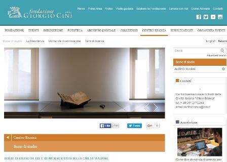 Convocatoria de Becas del Vittore Branca Center de la Fondazione Giorgio Cini en Venecia