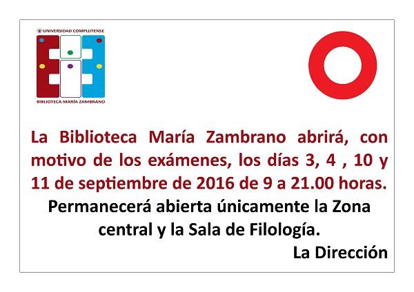 Horario ampliado de la Biblioteca María Zambrano en septiembre (La Biblioteca Informa)