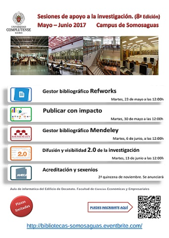 Sesiones de apoyo a la investigación (8ª Edición) Campus de Somosaguas, 2017