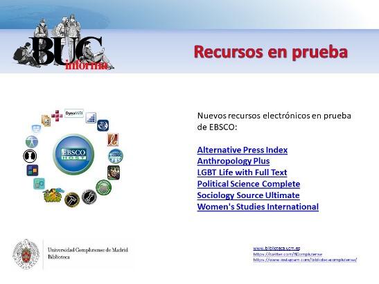 Nuevos recursos en pruebas en EBSCO (Recursos en prueba)