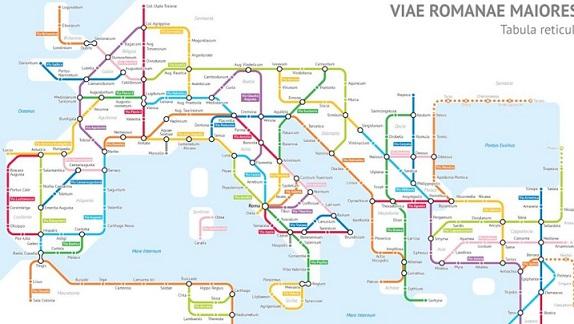 Así serían las calzadas romanas si fueran un mapa de metro (Laboratorio documental)