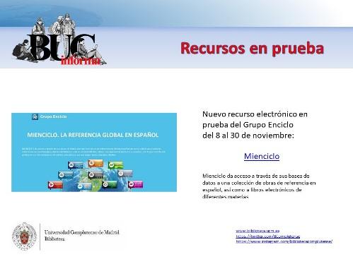 BUCM :: Recursos en prueba :: Biblioteca Complutense