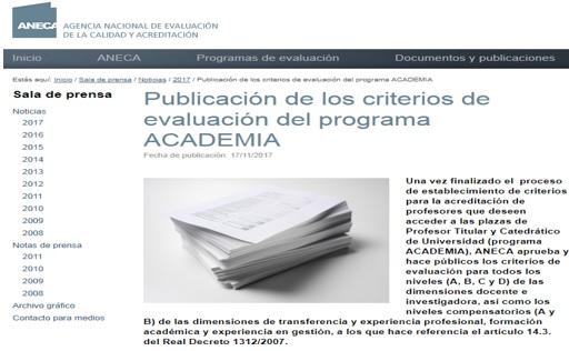 Nuevos criterios de evaluación del Programa Academia