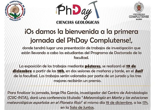 Primera Jornada PhDay Ciencias Complutense. Ciencias Geológicas (BloGeo)