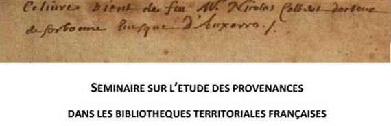 Seminario sobre el estudio de procedencias de fondos patrimoniales en bibliotecas territoriales francesas (Folio Complutense)