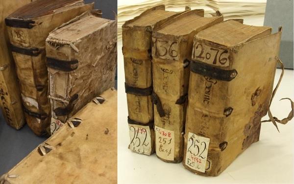 Las encuadernaciones de pergamino con tiras de refuerzo de cuero en la Biblioteca Histórica