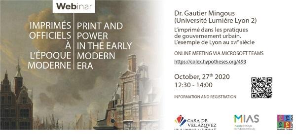 Webinar « Print and Power in Early Modern Era » (Folio Complutense)