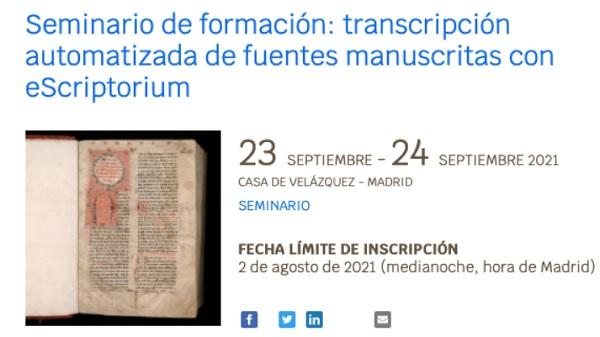 Seminario de formación: transcripción automatizada de fuentes manuscritas con eScriptorium