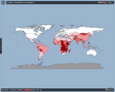 Mapa del hambre en el mundo.