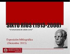 Sixto Ríos: exposición bibliográfica