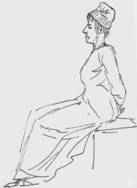 Se ve a María Antonieta de perfil sentada un banco con las manos (¿atadas?) a la espalda