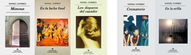Cubiertas de los tres primeras y dos últimas novelas