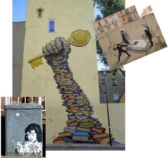 Mano creada con libros tiene llave que abre la torre, antidisturbios acorralan un libro, mujer leyendo sobre cabina eléctrica