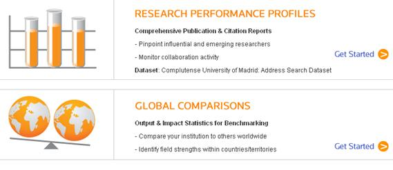 Acceso a Research Performance Profile y a Global Comparisons