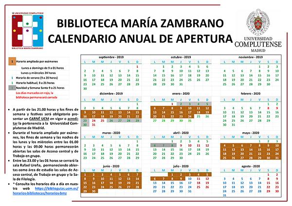 Calendario de apertura de la Biblioteca María Zambrano curso 2019-2020